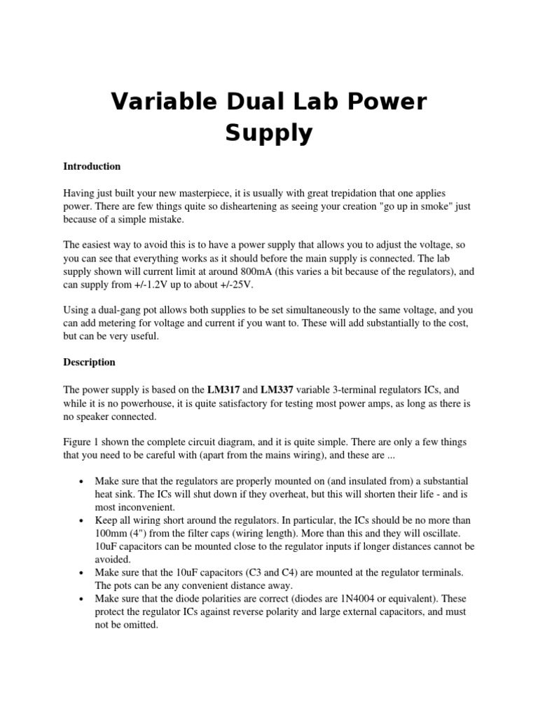 Variable Dual Lab Power Supplypdf Resistor Series And Parallel Lm317 Supply Circuit With Output Voltage Of 12 30v Circuits
