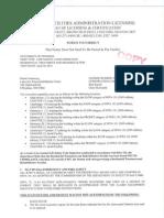 Licensing Bureau Notice to Correct Based on 4/30/2014 Visit