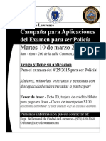 City of Lawrence Police Officer Exam Application Drive 2015 - SPN