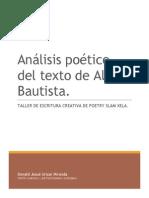 Análisis Poético Del Texto de Aldo Bautista, por Donald Urizar.