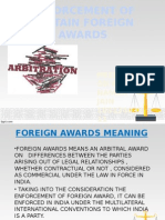 Enforcement of Certain Foreign Awards
