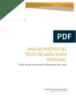Análisis Poético Del Texto de María Elena Ponciano, por Donald Urizar.