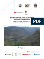 Riesgo Deslizamientos, subcuenca del Río Tapacalí, Madriz, Nicaragua