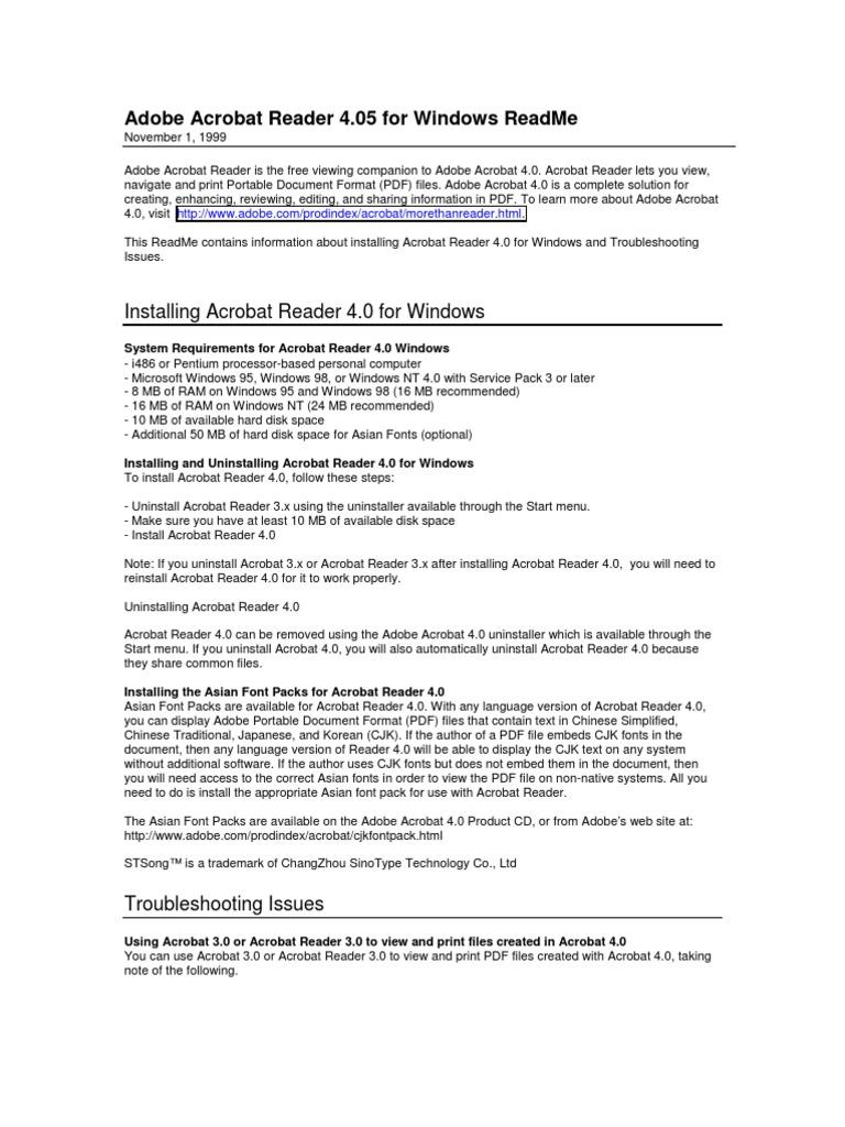 Adobe Acrobat Reader 4 05 for Windows ReadMe | Portable