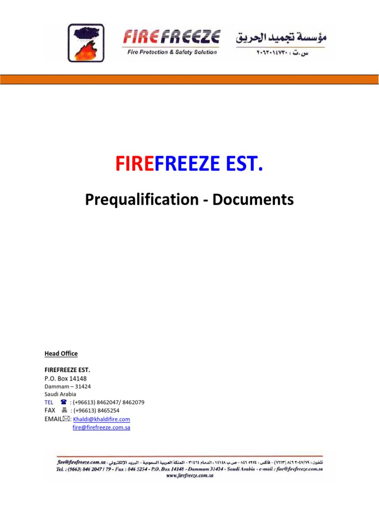 Pre Qualification -Firefreeze - 2014a | Quality urance ... on