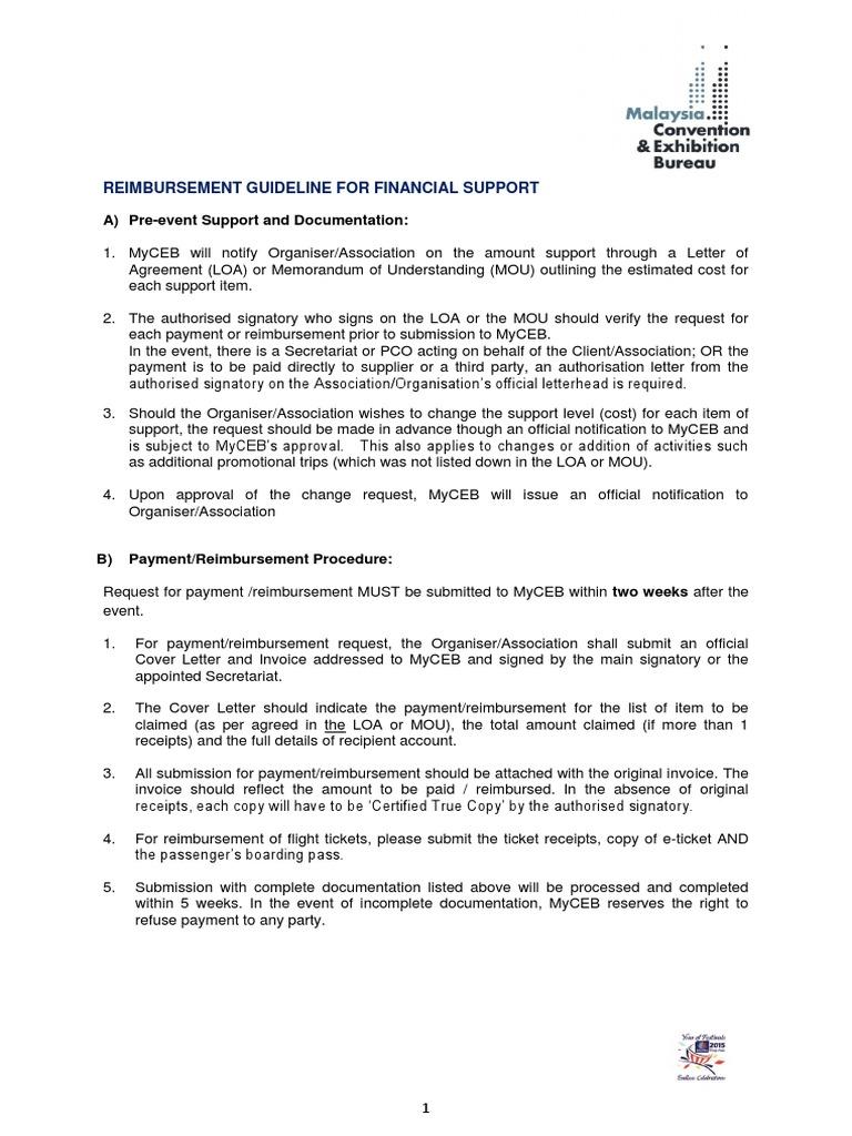 Conference Exhibition Reimbursement Guideline 231213 Receipt