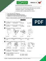LimbaRomana EtapaI 14-15 ClasaI Subiect