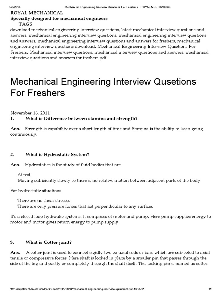 Mechanical Engineer Interview Questions Pdf