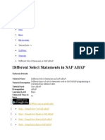 Select Statements in Sap Abap