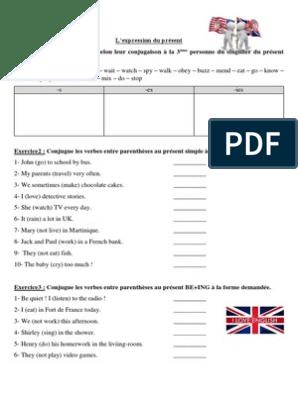 Exercices Anglais 5eme L Expression Du Present Et Du Passe