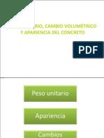 Peso UNITARIO, Cambio Volumétrico y Apariencia Del