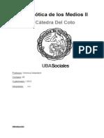 Semiótica II de los Medios - Uba - Cátedra del Coto