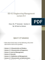 Engineering Management - Lecture # 2