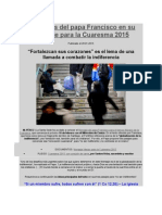 Diez Ideas Del Papa Francisco en Su Mensaje Para La Cuaresma 2015