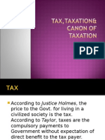 Tax,Taxation& Canon of Taxation (Slide)