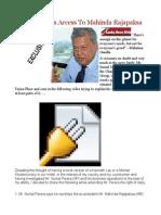 Sumal Perera's Access to Mahinda Rajapaksa