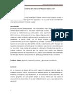 La  Educación Superior en el Ecuador