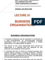 Lecture 16 - Business Organisations