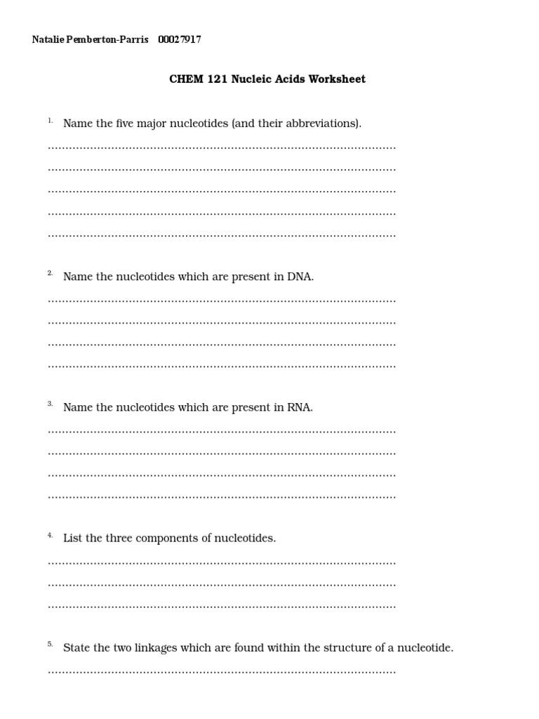 Nucleic acids Worksheetdoc – Nucleic Acid Worksheet