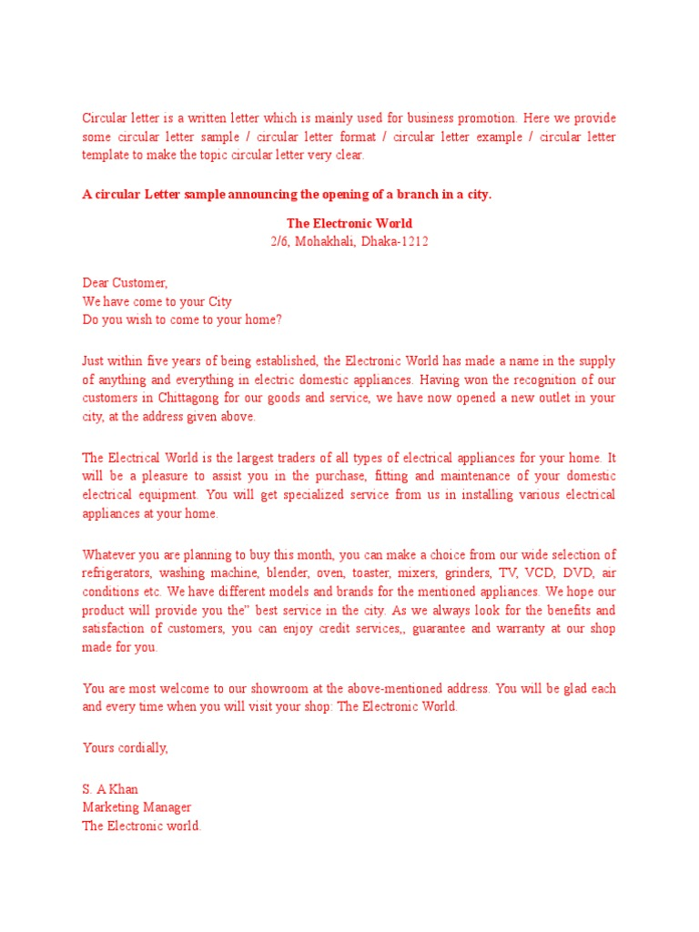 write circular letter Bank united has been servicing for the last seven (7) years and earned the faith  of the millions of people now it's our pleasure that we will be.