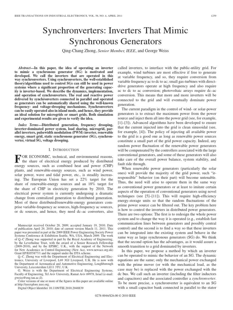 Synchronverters Inverters That Mimic Synchronous Generators Power Mimicdiagramofthreephaseinverter Inverter Electrical Grid