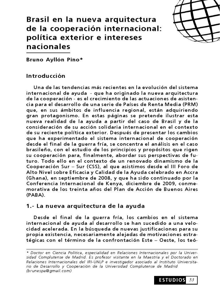 Brasil en la nueva arquitectura de la cooperación internacional ...
