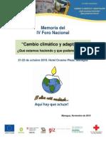 memoria IV Foro Nacional de Cambio Climático, Nicaragua, 2010