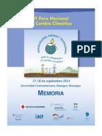Memoria, VI Foro Nacional de Cambio Climático, Nicaragua, 2014