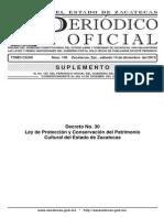 Ley de Proteccion y Conservacion Del Patrimonio Cultural Del Edo de Zacatecas (2013)
