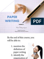 Lecture 1-Paper Writing and Its Organization