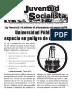 Boletín de la Unión de Juventudes Socialistas (Capítulo de Río Piedras), enero 2010