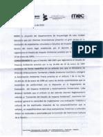 9-01-2015 Impacto Ambiental / Resolución de la Comisión de Patrimonio del MEC