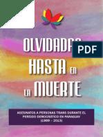 """Olvidadas Hasta en La Muerte """"Asesinatos de personas trans durante el periodo democrático en Paraguay (1989-2013)"""""""