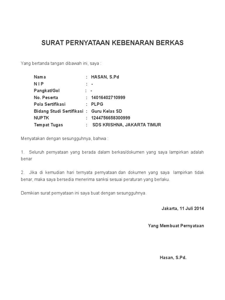 Contoh Surat Pernyataan Kebenaran Berkas