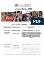 KidsTHERAPY Summer Camps 2015