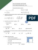 Teste Matemática 7 ano