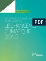 Docuement de consultation de l'Ontario sur le changement climatique 2015