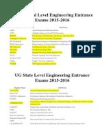 List of Engineering Entrance Exam 2015-16
