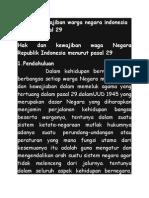 Hak Dan Kewajiban Warga Negara Indonesia Menurut Pasal 29