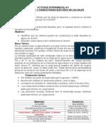 ACTIVIDAD EXPERIMENTAL 5 Solubilidad y Conductividad Electrica de Sales