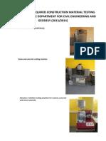 Laboratory Equipment List