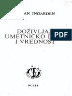 141723283 Dozivljaj Umetnicko Delo Vrednost Roman Ingarden 1975