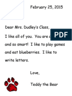 Letter From Teddy Bear