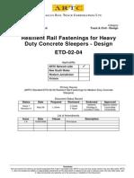 ARTC - ETD-02-04 Resilient Rail Fastenings for Heavy Duty Concrete Sleepers Design