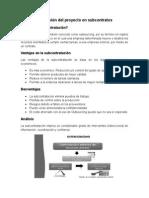 La División Del Proyecto en Subcontratos