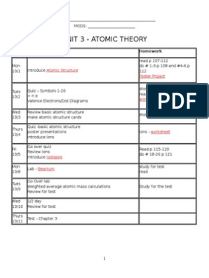 Packet Unit 3_Atomic Structure-Answers Chemistry | Chemical Elements ...