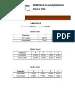 Calendário Semestral UFRJ 2015