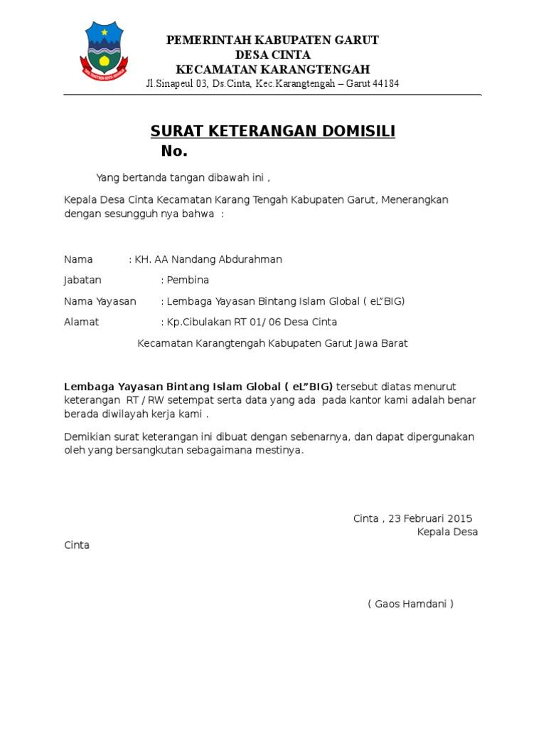 Contoh Surat Keterangan Domisili Lembaga Dari Desa ...