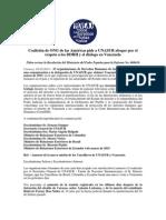 Coalición de ONG de las Américas pide a UNASUR abogar por el respeto a los DDHH y el diálogo en Venezuela   Piden revisar la Resolución del Ministerio del Poder Popular para la Defensa No. 008610