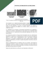 Factores Que Afectan La Estabilidad de Las Emulsiones